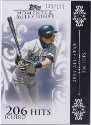 Topps Moments & Milestones White 63 Hits 206 /150
