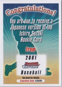 Bowman Chrome Japanese Redemption Card