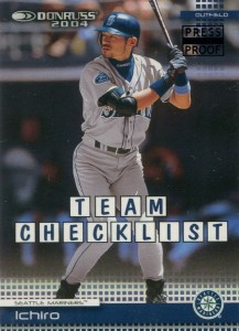 Donruss Team Checklist Black Press Proof /10