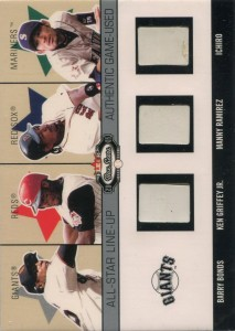 Fleer Box Score All Star Line Up Triple Game Used Base