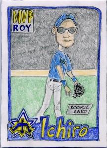 I Draw Baseball Cards 2001 Topps RC Blue Artist Original