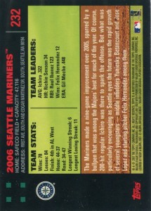 Topps Red Back Seattle Mariners Team Card